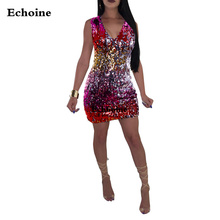 Sexy Sequine Mini Dress V-neck Sleeveless Elegant Party Shining Metallic Multi-Color Dresses Club Outfit Woman Vestidos