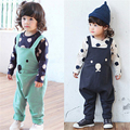 New Baby Boy Girls Bib Pants Overalls Bear Print Harem Pants Long Trousers 0-3 Years