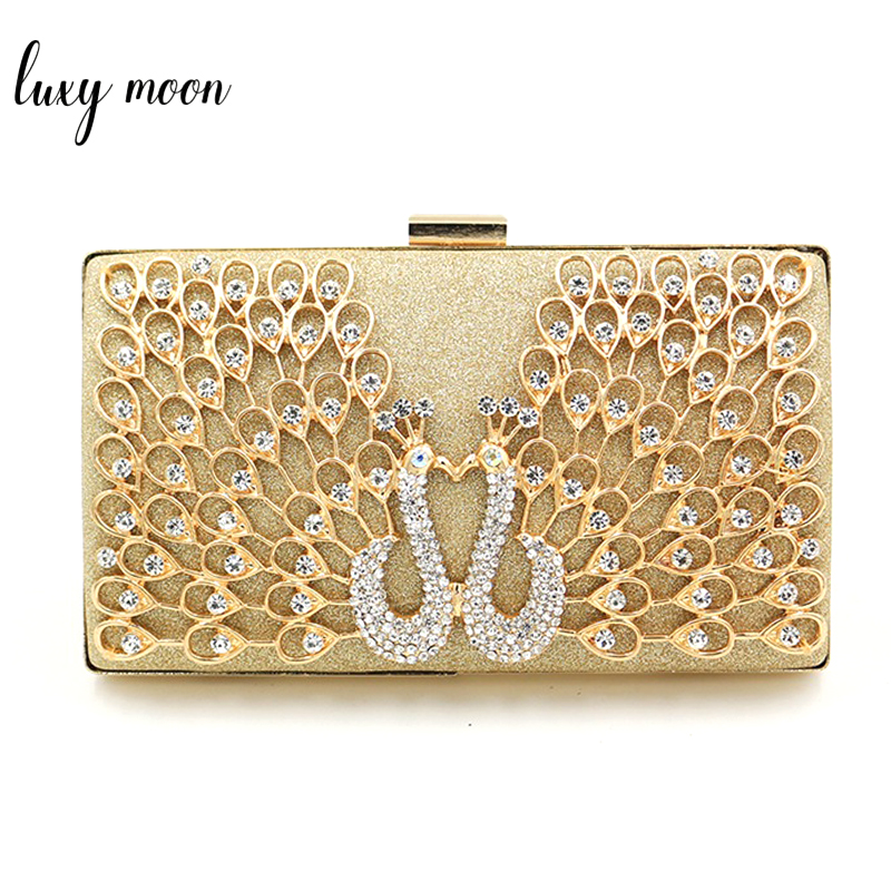 Luxury Evening Bags For Wedding Elegant Peacock Rhinestone Pattern Clutch Bags Women Day Clutches Purse Metal Chain Shoulder Bag retro 2017 floral beaded handbag women shoulder bags day clutch bride rhinestone evening bags for wedding party clutches purses