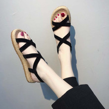 Sandals Women's Flat With Rome Straps Cross Tied Open Toe Sandals Fashion Bohemian Hollow Elastic Slippers Sandalia Feminina