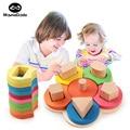 Materiais Montessori Matemática Geometria Cognitiva Brinquedos Educativos Para O Bebê Auxiliar de Ensino Montessori De Madeira Forma de Flor Conjunto de Coluna