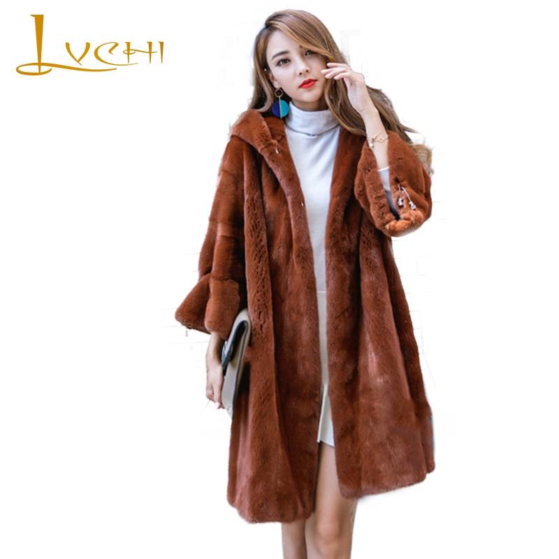 LVCHI Winter 2019 Import Real Mink Fur Coats Women's Batwing Sleeve  With Hat Coat Full Pelt Causal Carame Color Slim Mink Coats