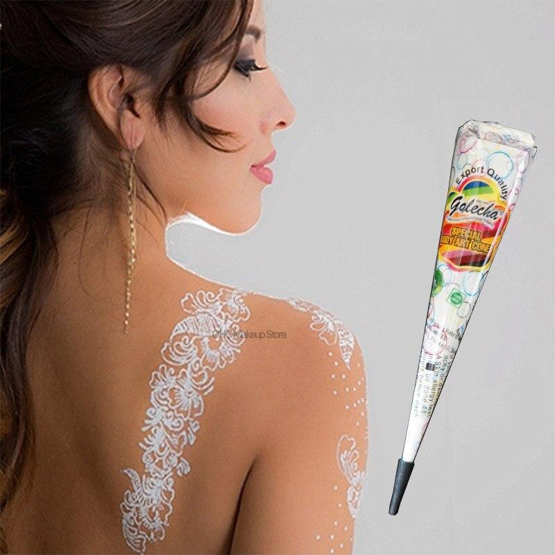 Henne Tatouage Blanc Encre Visage Peinture A La Main Et Corps