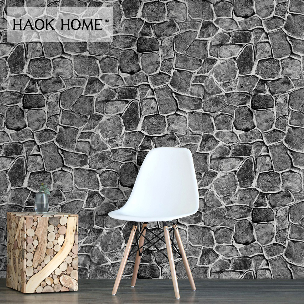 HaokHome Vintage Faux Rock Stone Peel and Stick Wallpaper for Wall 3d Grey Self Adhesive Contact paper Kitchen Home Decoration