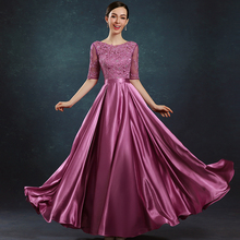 цена на V-Neck Half Sleeve Free Shipping A-Line Excellent Quality Natural Lace Satin Evening Dresses