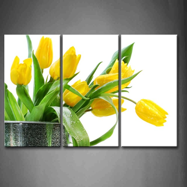 3 Panels Spring Flowers Patterned Canvas Print