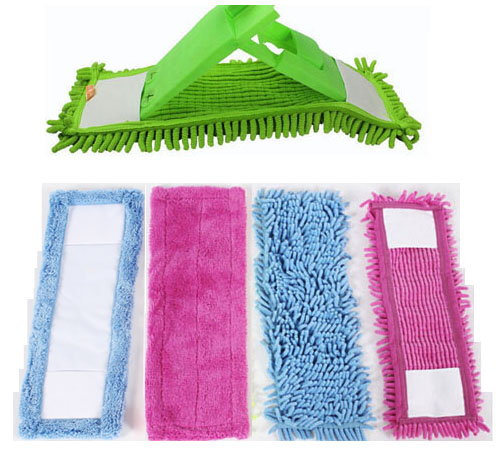 1PCS Floor Folding Flat Mop Cloth Hoved Coral Velvet Chenille Refill Rag Udskift Microfiber Fabric Cloth Easy Wash 40x12CM