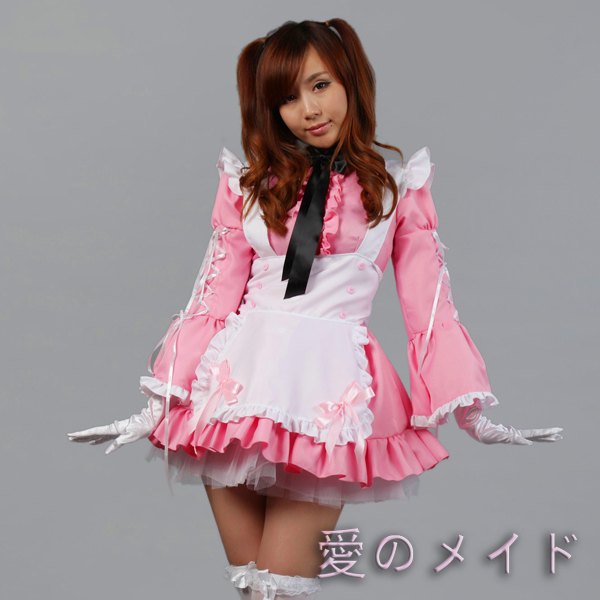 Free Shipping Cheap Halloween Pink Lolita Maid Anime Cosplay Clothes Sweet Princess Dress Costume