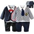 Tecido de algodão do bebê rompers para 0-1 anos de idade infantil roupas tie jumpuist cavalheiro macacão de bebê recém-nascido roupas menino