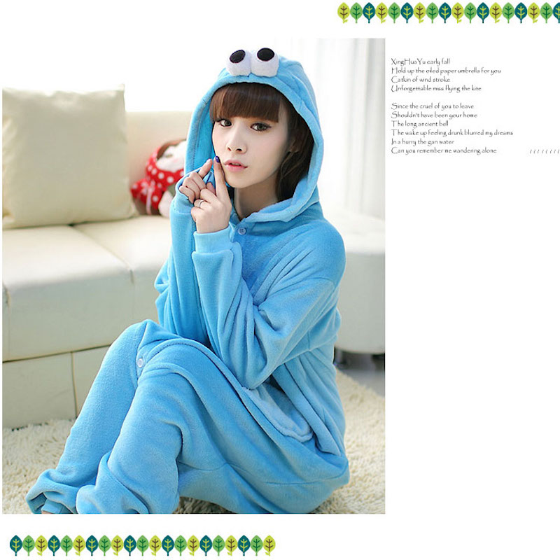 Cute Sesame Street Blue Cookie animal Pajamas cartoon pijama cosplay pijamas adults flannel Onesies women set Sleepwear robe