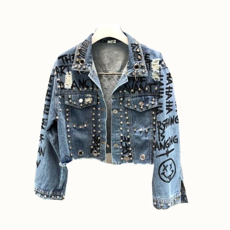 Punk Style Rivets Beading Denim   Jacket   Women Spring Diamonds   Basic     Jacket   Hole Burr Denim   Jacket   Women Long Sleeve Coat   Jackets