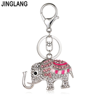 JINGLANG Silver Color Lobster Clasp Keyring Rhinestone Enamel Elephant Charms Keychains For Women Handbag Pendants Jewelry