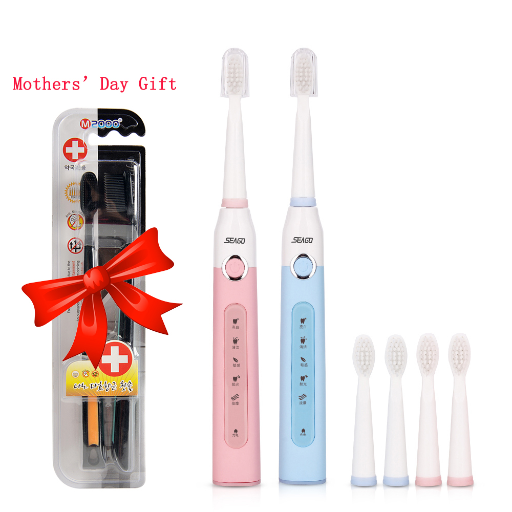 Seago USB Rechargeable Sonic Electric Toothbrush Mothers' Day Gift 3 Mode Brush Teeth + 3 Replacement Tooth Brush Heads ckeyin cartoon dolphin children music electric toothbrush led tooth brush 22000 min kids sonic toothbrush electric 3 brush heads