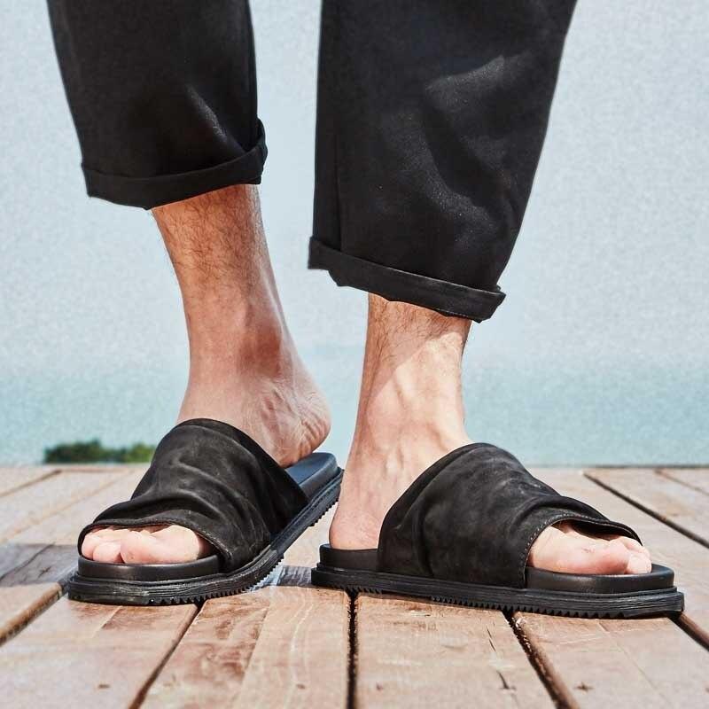 MYCOLEN Degli Uomini Pantofole Casual Nero Scarpe Antiscivolo Presentazioni aziende produttrici giochi Bagno di Alta Qualità di Estate Dei Sandali Suola Morbida Infradito Uomo - 5