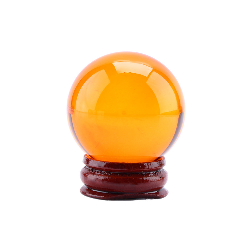 W Unisex Natural Amber Magic Crystal Healing Ball Sphere 40mm Stand