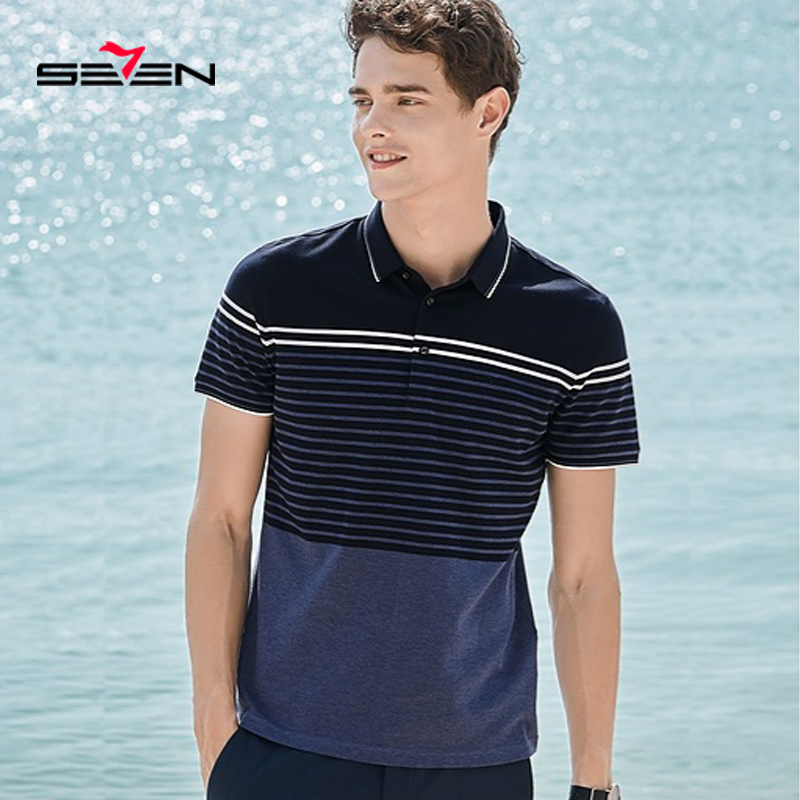 Seven7 2019 Summer High Quantity Hot   Polo   Shirt Men Short Sleeve   Polo   Shirt Casual Shirts Slim Fit Mercerized Cotton 116T50070