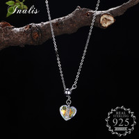 INALIS 925 Sterling Silver Heart Pendant Necklace Clear Crystal Fine Jewelry For Women Romantic Birthday Gifts