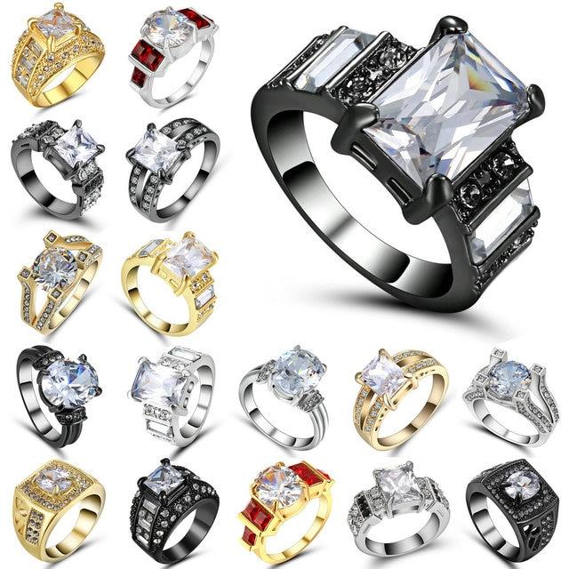 Classic Engagement Ring 4 Claws Design AAA White Cubic Zircon Female Women Weddi