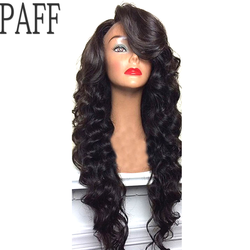 PAFF Body Wave Brazilian Full Lace Human Hair Wigs With Baby Hair Remy Hair Pre Plucked Glueless Lace Wigs 130% 150% 180%Density