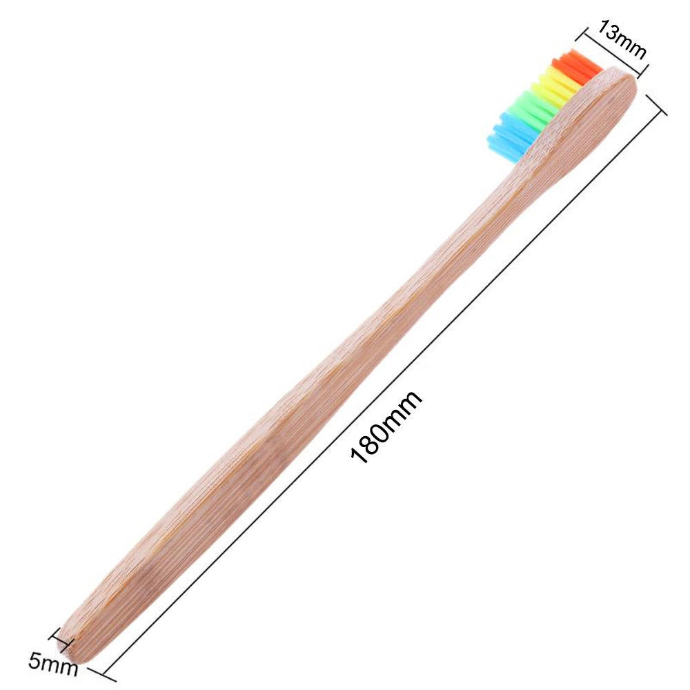1 PC Colorful Head Bamboo Toothbrush Wooden Rainbow Toothbrush Oral Care Soft Bristle House Cleaning Brush Computer Camera Brush image