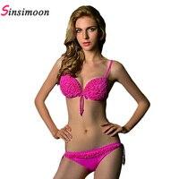 Bandage Strappy Women Bikini Swimwear Brand Floral Push Up Bathing Suits New Fashion Brazilian Bikini Swimwear
