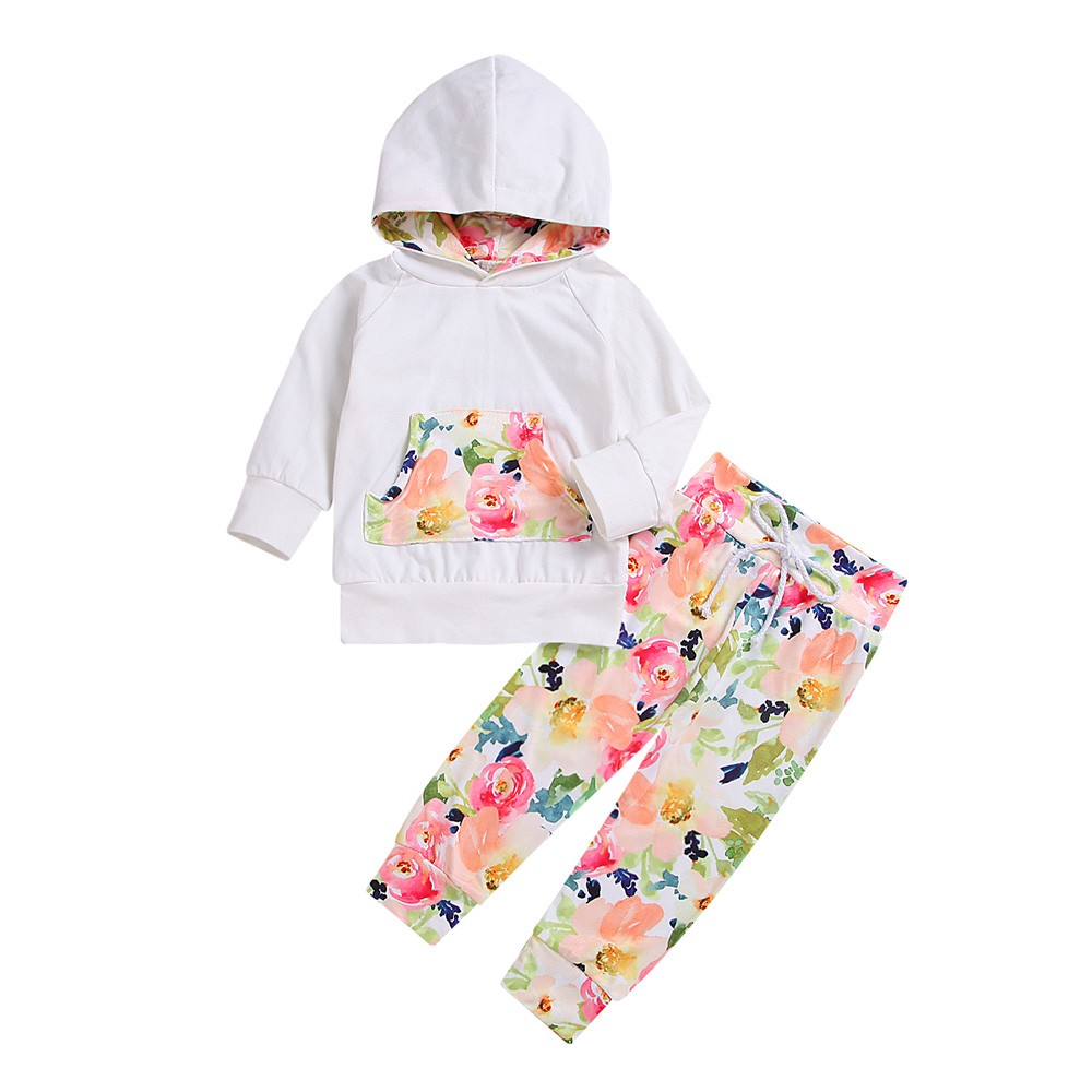 Toddler Kids Baby Girls Hooded Sweatshirt Floral Tops Pants Clothes Sets Outfits