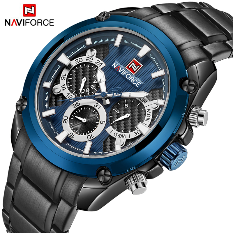 2018 New Men Watch NAVIFROCE Army Sports Military Wrist Watches Men's Fashion Stainless Steel Quartz Date 24 Hour Analog Clock цена