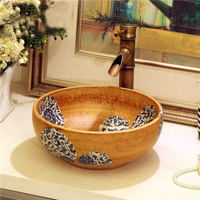 Unique oriental hand maded ceramic porcelain bathroom sink with countertop