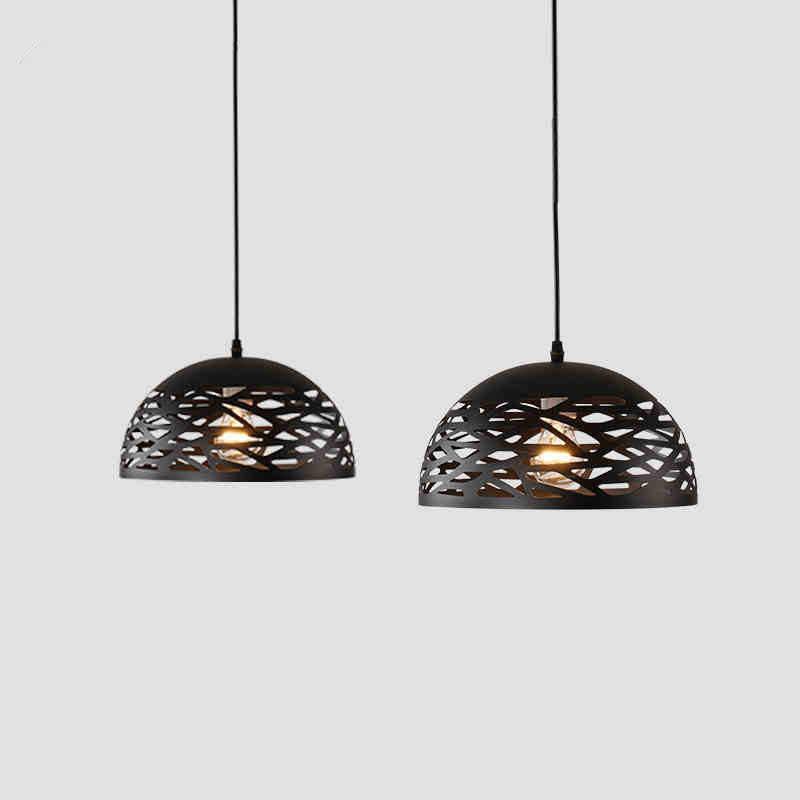 Винтажная Подвесная лампа полые черные железные подвесная кухонная лампа светильники для столовой настольная Подвесная лампа avize домашний осветительный прибор