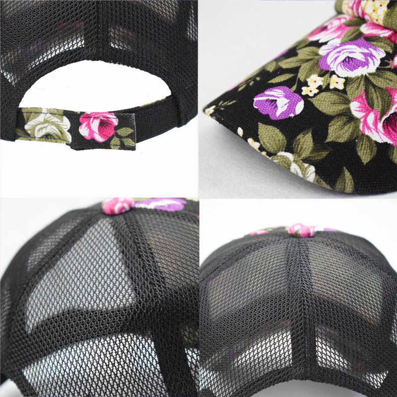 موضة Meash قبعة بيسبول النساء الأزهار Snapback الصيف شبكة القبعات عادية قابل للتعديل قبعات انخفاض الشحن قبلت زهرة الصينية