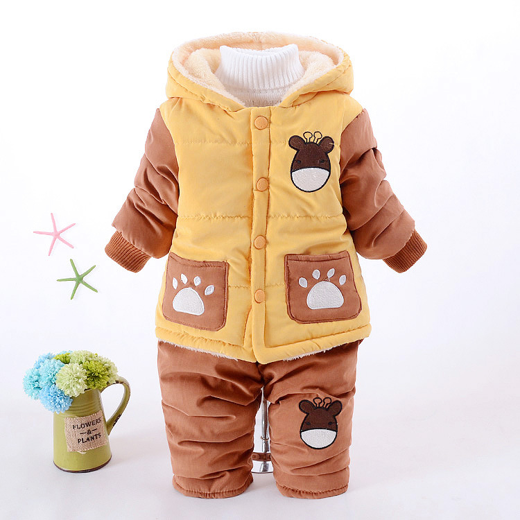 Boys Clothing Sets Winter Autumn Children Sets Warm Cotton Baby Boy 1-3 years Clothing Sets Fashion Cartoon Hooded Snow Outwear kocotree suit for 3 12 years old children unisex cap scarf gloves winter warm three piece sets