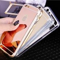Fashion Luxury Ultra Slim Soft Case For Iphone 5S Clear Silicone Edge + Mirror Back Cover For Iphone 5 5S SE Phone Cases