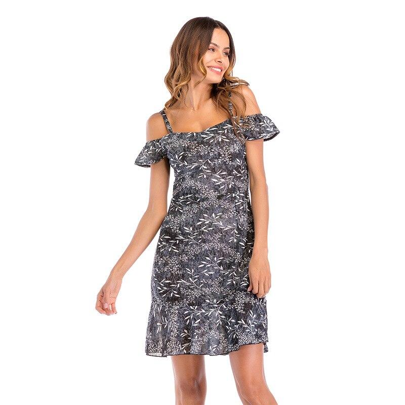 дешево!  Новое шифоновое платье слинг с рукавами листьев лотоса с летающими рукавами Цветочные платья Пляжна