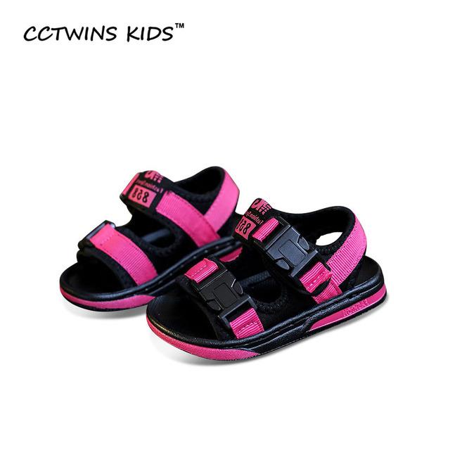 CCTWINS CRIANÇAS 2017 Pano de Verão para Crianças Moda Preto Kid Sapato Menino Da Criança Praia Menina de Bebê Da Marca Anti-slip Andando sandália B677