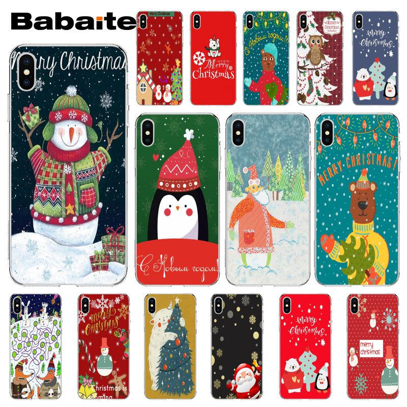 Babaite Christmas Penguin Santa Claus Transparent Soft Phone Cover for Apple iPhone 8 7 6 6S Plus X XS MAX 5 5S SE XR Cover