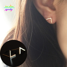 New Charm Brief Minimalist Gold Tone Cut  V Stud Earrings For Women Silver Earrings Everyday Earings Fashion Jewelry