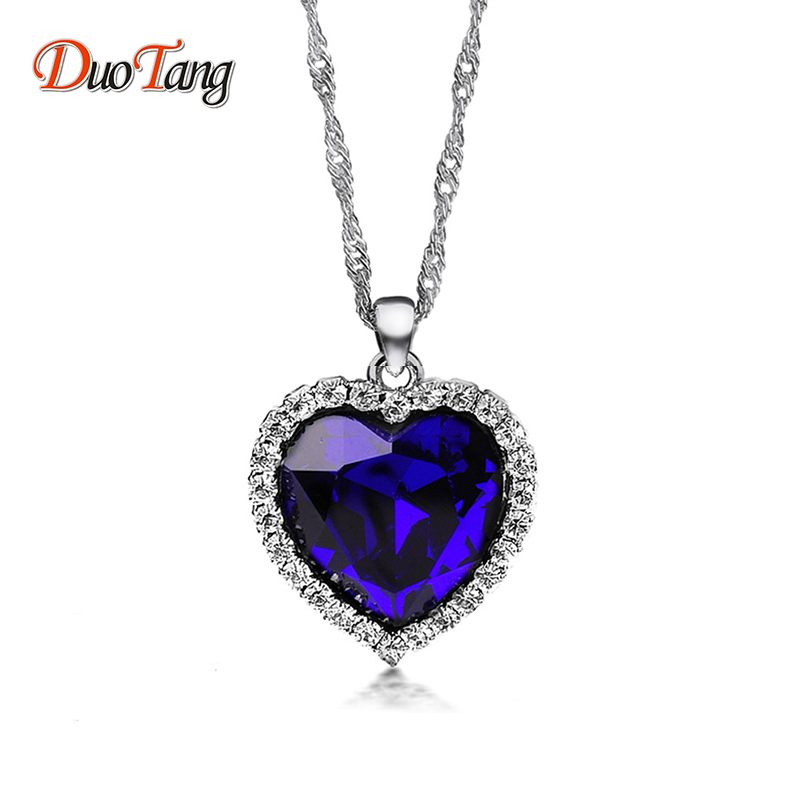 DuoTang Titanic Ocean Heart Pendant Necklaces For Women Blue Crystal Rhinestone Silver Plated Metal Choker Necklace Jewelry