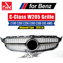New W205 Diamond Sports Front Grille ABS Material Black For Mercedes Benz C-Class C180 C200 C250 C350 C400 C450 2015-2018