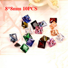 New Colored Gemstone Square Zircon Nails Rhinestone AB Crystal Champagne Emerald Glass Gem Manicure Jewelry Decoration 8x8mm(China)