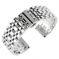 Stainless Steel 20 22 24mm Push Button Hidden Clasp Solid Link Watchband Men 2 Spring Bars