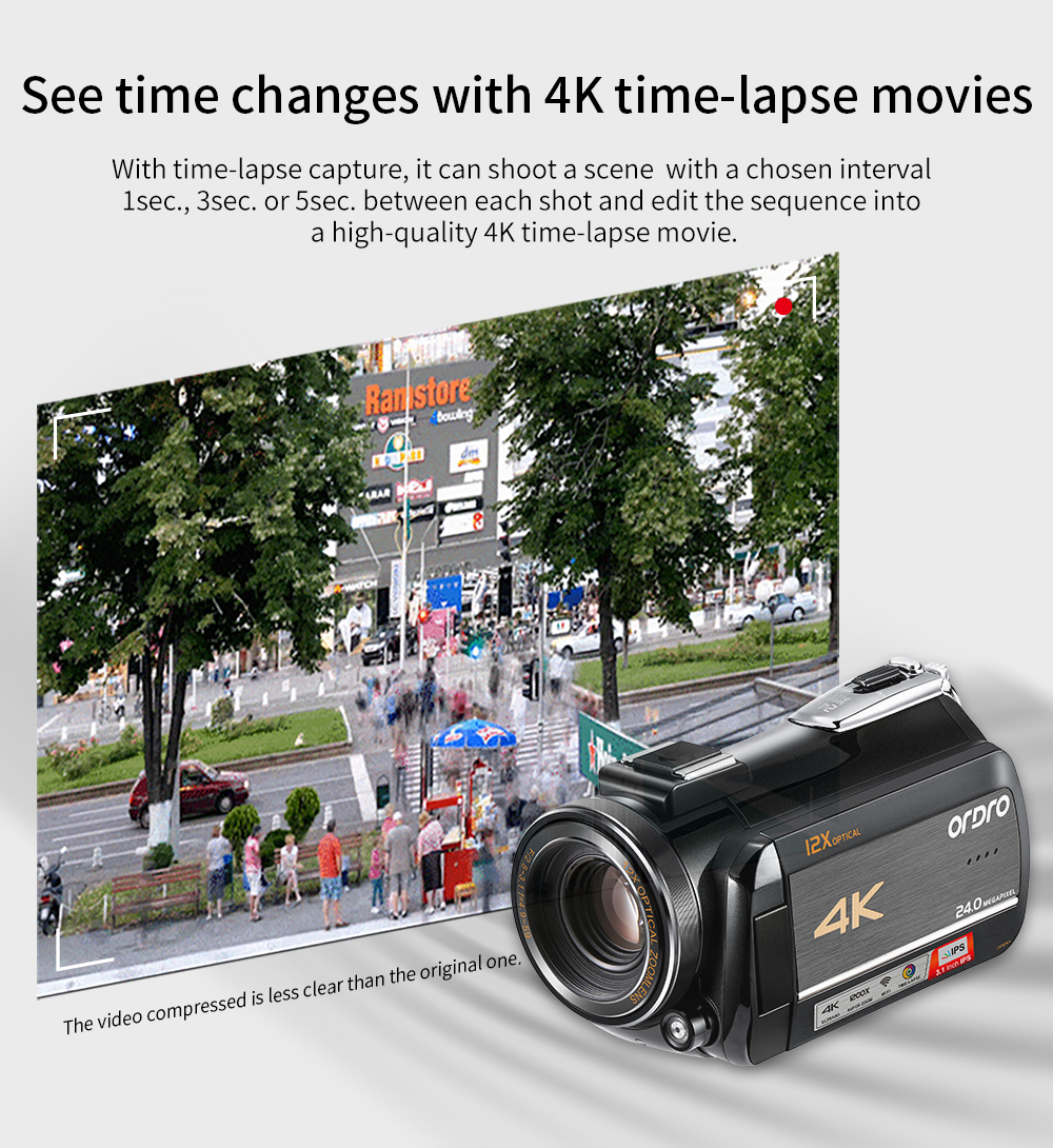 Ordro HDV-AC5 4K Camcorder 12X Optical Zoom 3.1 IPS Touch Screen Ultra HD 1080P 60FPS Digital WiFi Camera 10