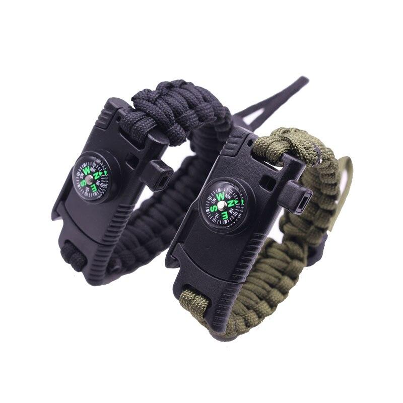 Плетеный браслет для мужчин затяните веревку свист компас Веревка Браслеты Открытый Инструмент браслеты для мужчин Drop аварийного веревка