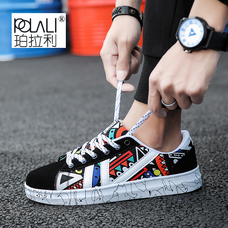 2018 New Men's Vulcanized Shoes Printing Pattern Skateboard Shoes Breathable Fashion Men Casual Platform Shoes(China)