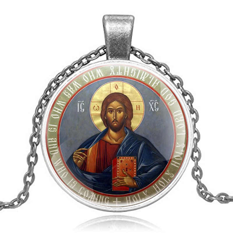 Vintage Classic Orthodox Christianity Pendant Necklace Men Women Art Glass Cabochon Jewelry Gifts