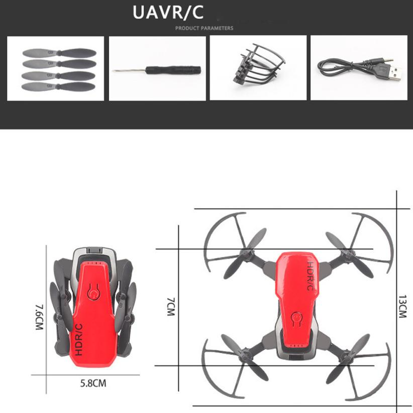 CHAMSGEND Mini D2WH Foldable With Wifi FPV 0.3MP HD Camera 2.4G 6-Axis RC Quadcopter Drone Toys  for Children and Adults Gifts