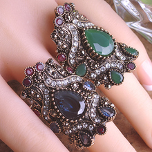 Vintage Rhinestone Rings For Women Green Turkish Jewelry Bijuterias Engagement Ring Anel Aneis Unicorn From India Accessories