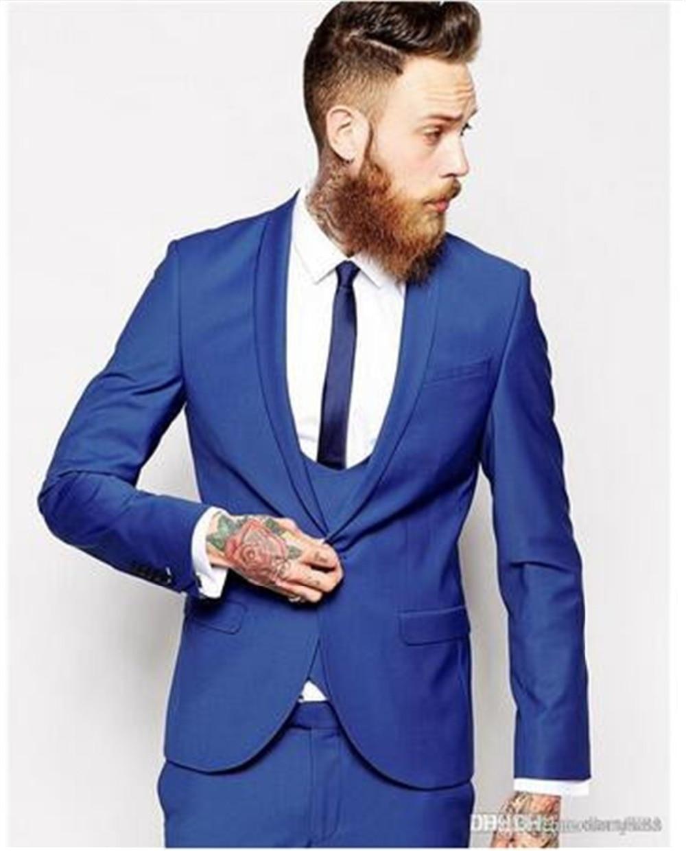 2019 bleu Royal hommes costumes Slim Fit 3 pièces hommes costumes de fête sur mesure de mariage hommes d'honneur Tuxedos Blazer (veste + pantalon + gilet)