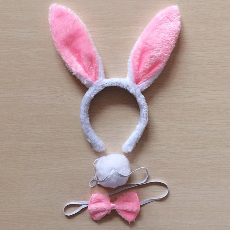Children Adult Bunny Ear Headband Set Black Pink White Blue Fancy Dress Costume Hen Party Big Rabbit Ear Hairbands Headwear Tail