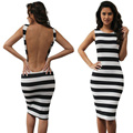 2016 Hot Sale New Arrival Fashion Summer Women Sexy Bandage  Sleeveless  Backless Striped Cocktail Party Slim Mini Dress CL2709