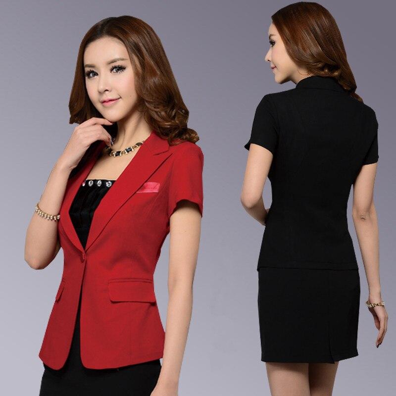 Fmasuth Slim Jacket Blazer Women S-6XL Large Size Summer Short Sleeve Single Button Feminino Formal Black Blazer ow0303